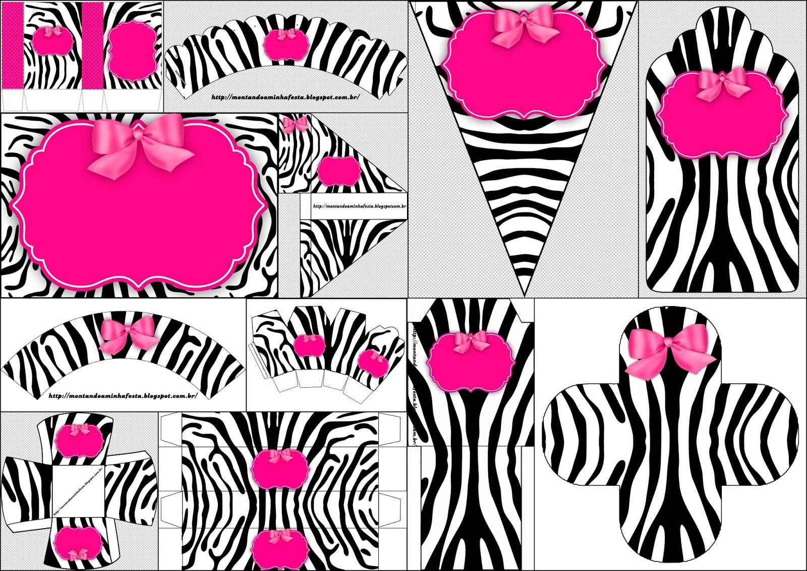 Cebra y rosa imprimibles para fiestas invitaci n y cajas for Decoracion cebra