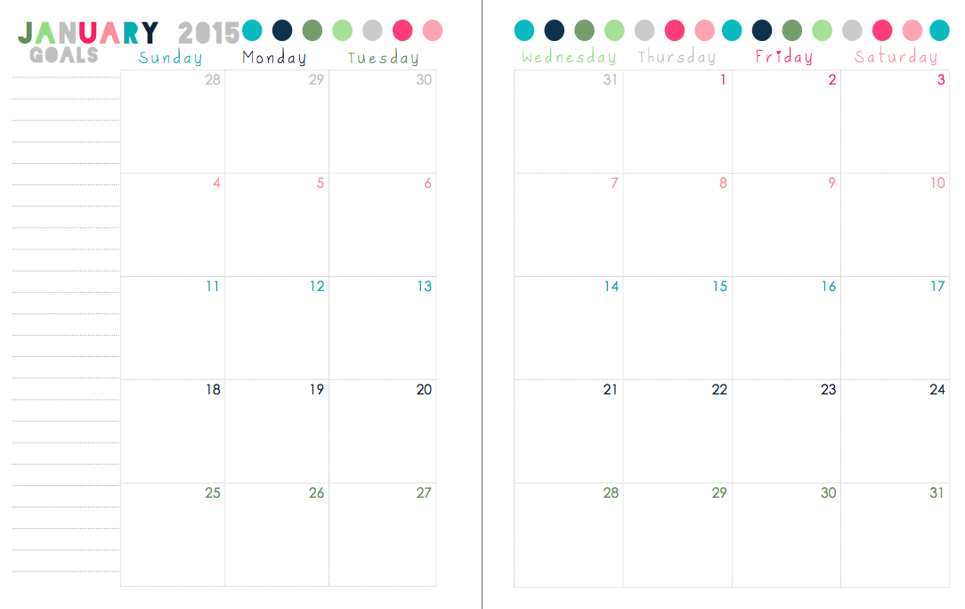 Sherbert cafe free printable 2015 calendar for 2 page weekly calendar template