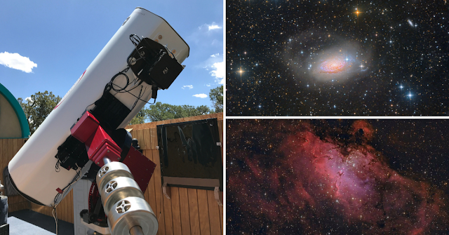 "ATEO-1: 16"" f/3.7 astrograph reflector remote telescope with its images acquired of Messier 63, The Sunflower Galaxy and Messier 16, The Eagle Nebula. Image sets for these deep-sky objects are available in Insight Observatory's Starbase image set repository."