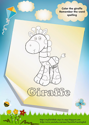 giraffe coloring page, giraffe in the scarf
