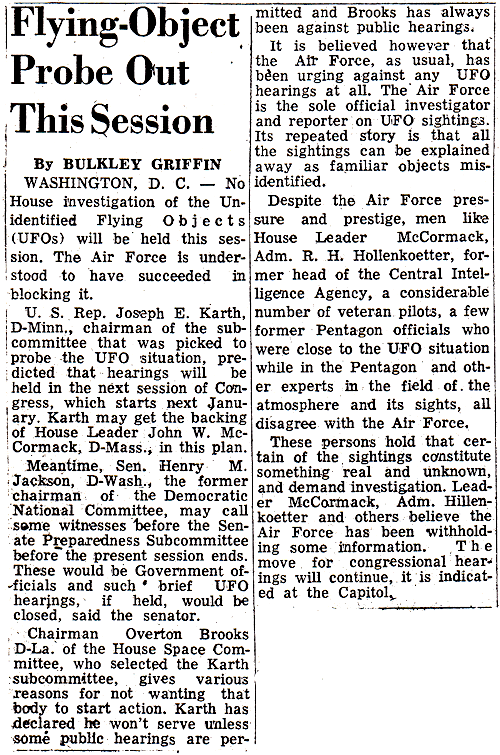 Flying-Object Probe Out This Session - Waterbury Republican  8-6-1961