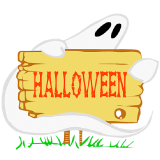 Happy Halloween white ghost clipart