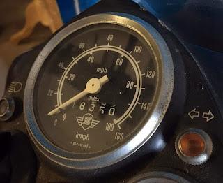 Royal Enfield Bullet speedometer dial.