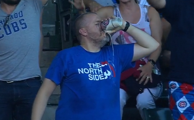 Chicago Cubs fan chugs beer
