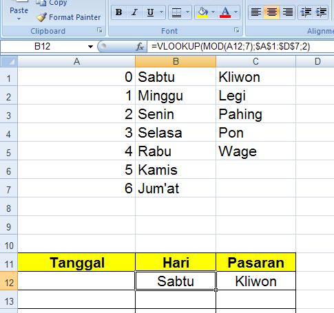 Mencari Hari Pasaran (jawa : Weton) dengan Program Excel