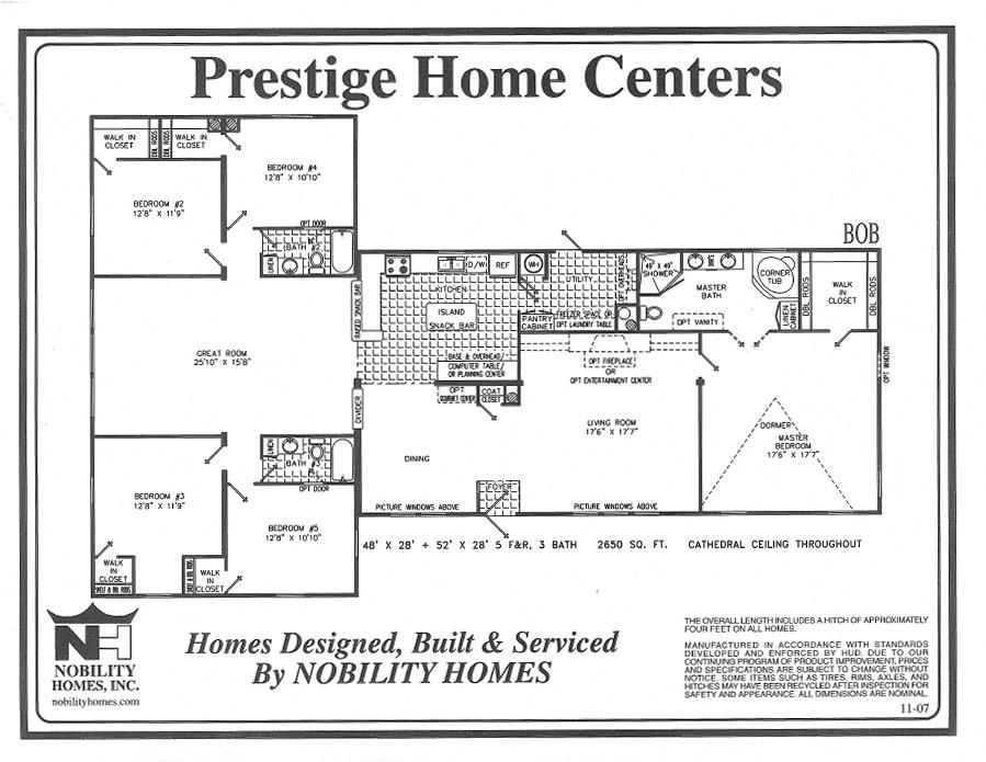 Bob 5 Bedrooms 3 Baths 2650 square feet – 5 Bedroom Mobile Home Floor Plans