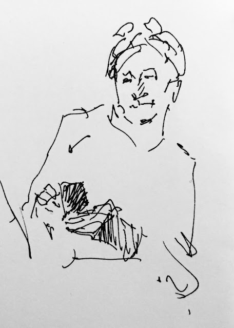Pen and ink drawing of woman with bandanna looking at phone.