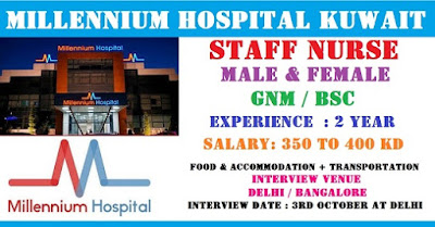 Staff Nurses Vacancies in Millennium Hospital Kuwait - Male and Female Can Apply