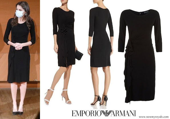 Queen Letizia wore Emporio Armani Ruffled Dress