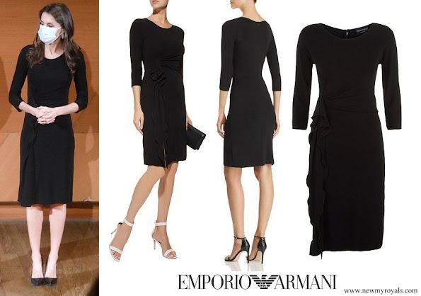Queen Letizia wore Emporio Armani Ruffled Dress