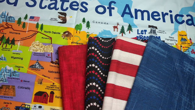 USA map panel and coordinating fabrics