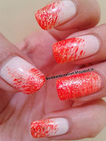 Orange nails with french manicure