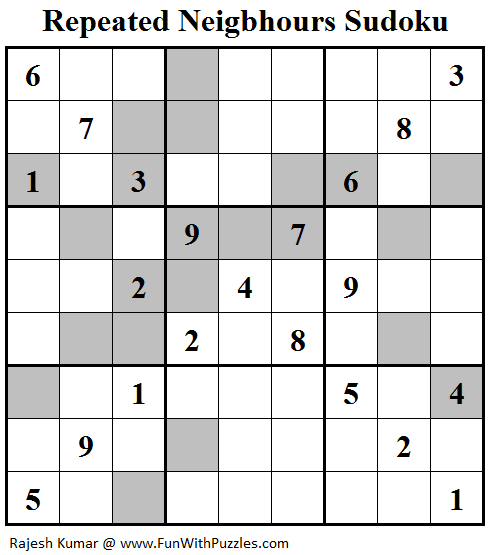 Repeated Neigbhours Sudoku (Fun With Sudoku #119)