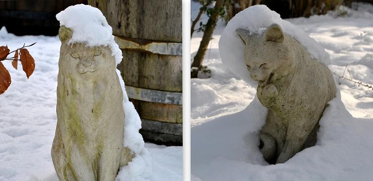 Gartenkeramik bei Frost und Eis