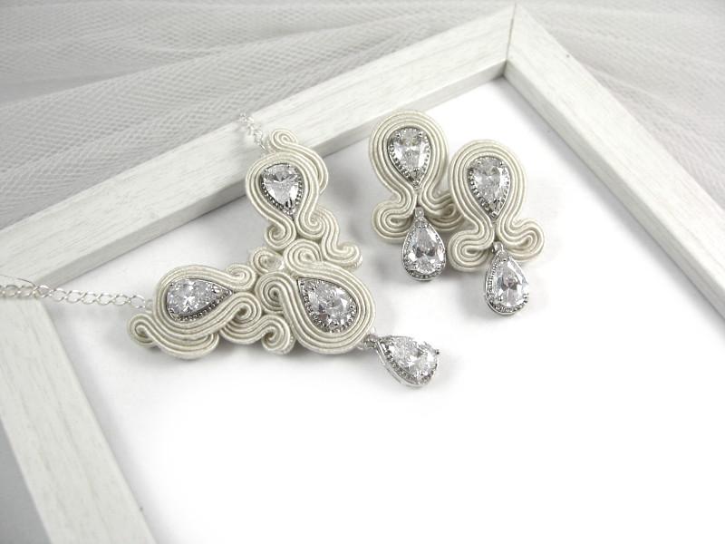 soutache ślubny z kryształami od novia blanca, kolczyki i naszyjnik