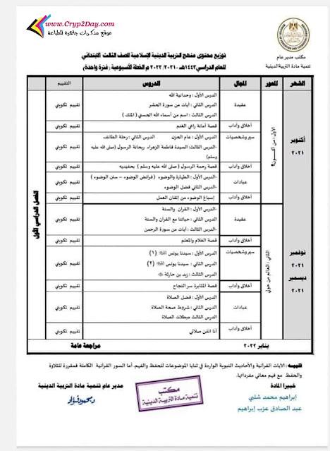 توزيع منهج التربية الاسلامية للصف الثالث الابتدائي ترم اول 2022