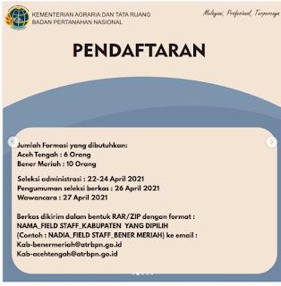 Lowongan Kerja Field Staff Kantor Pertanahan Aceh Tengah Lulusan D1