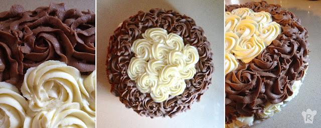 Tarta (layer cake) con rosas de ganache