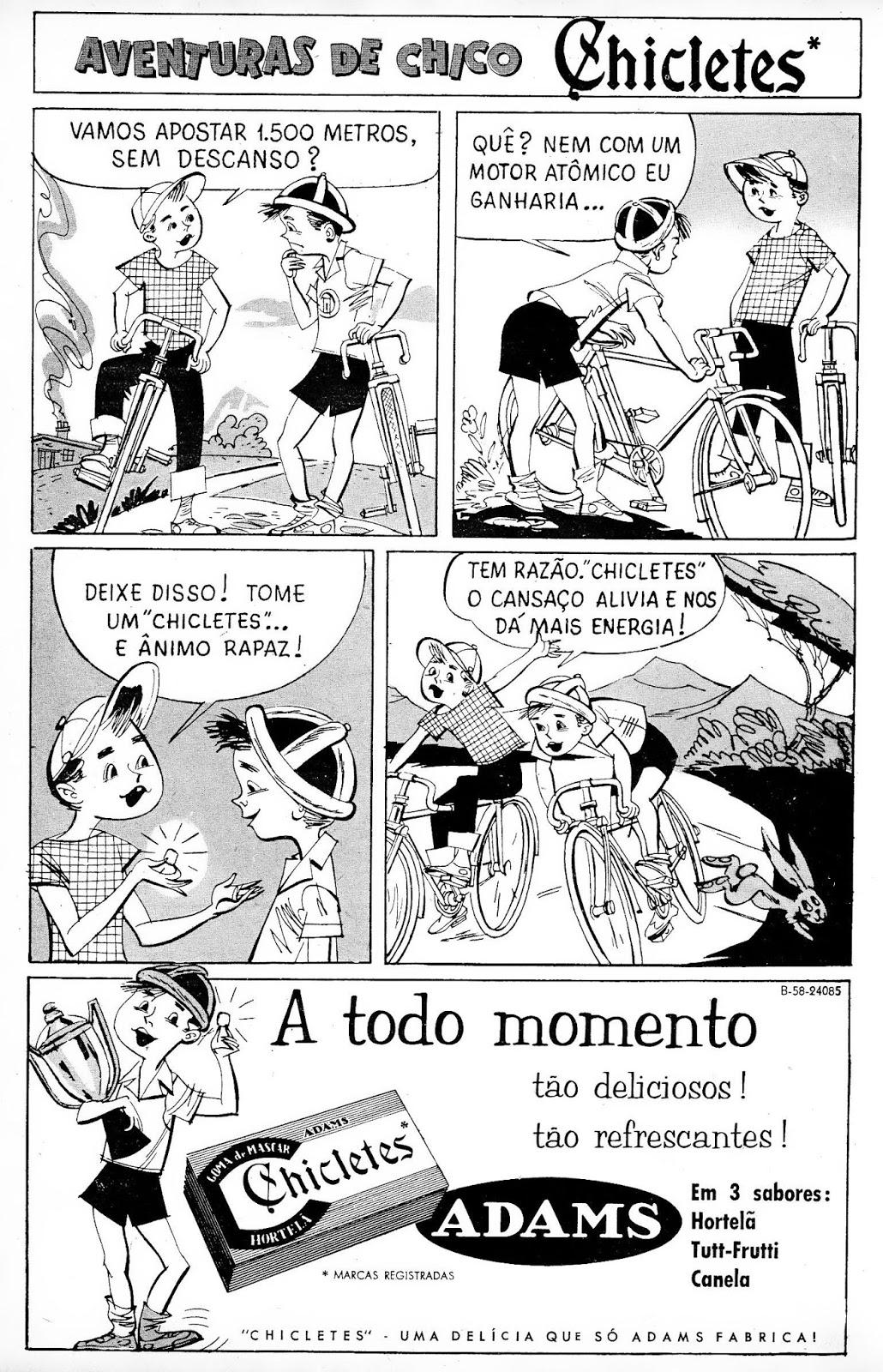 Propaganda em forma de história em quadrinhos do Chicletes Adams nos anos 50