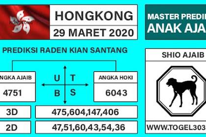 Angka Main Jitu Togel Hongkong Minggu 29 Maret 2020