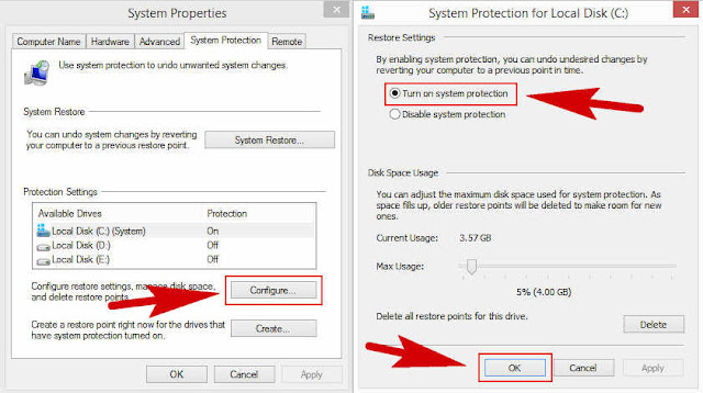 Cara Mengaktifkan System Restore Windows XP, 7, 8 dan 10