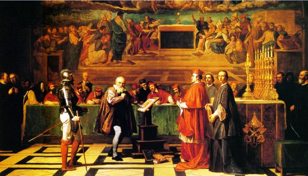 Galileo ante el Santo Oficio, obra de Joseph-Nicolas Robert-Fleury (Museo de Luxemburgo, París)