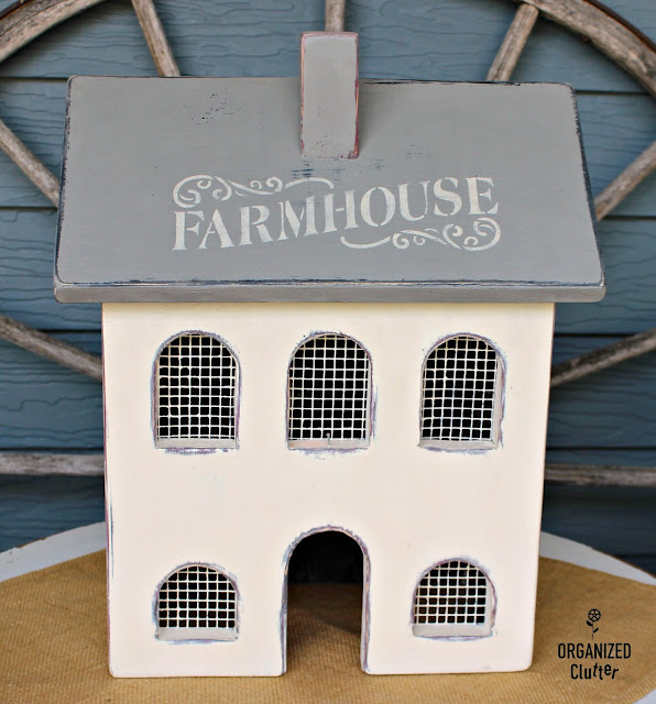 Primitive Country Salt Box House To Upcycled Farmhouse #stencil #farmhousestyle #farmhousedecor #upcycle