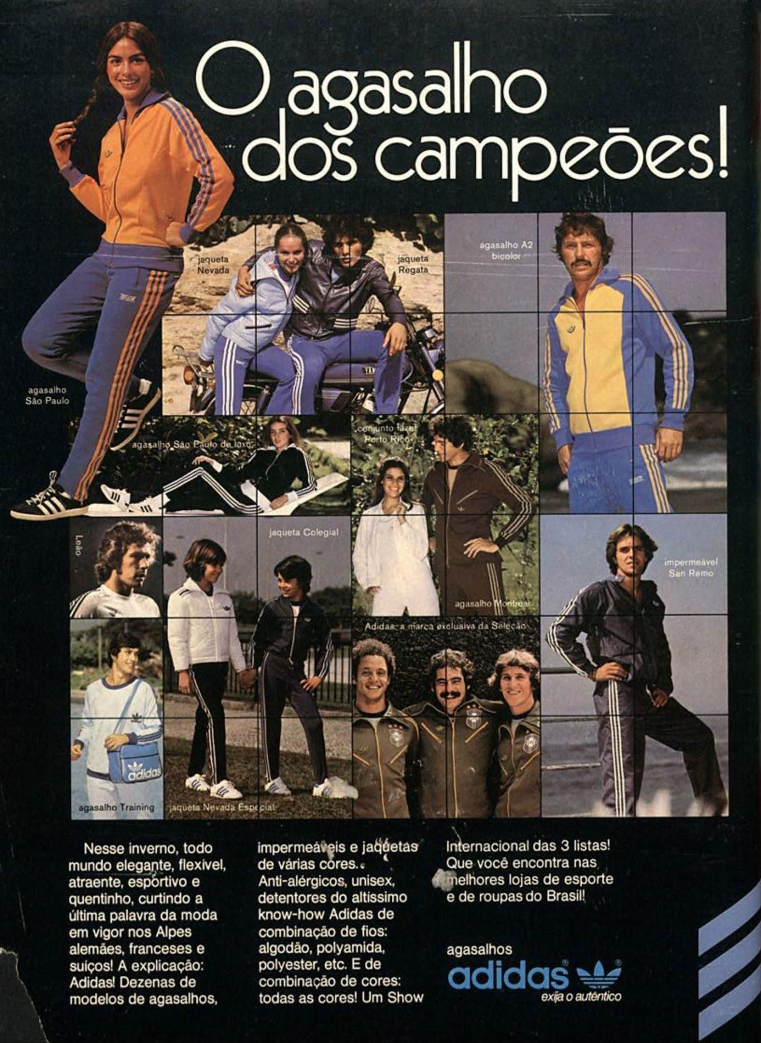 Propaganda antiga da Adidas promovendo sua linha de agasalhos em 1978