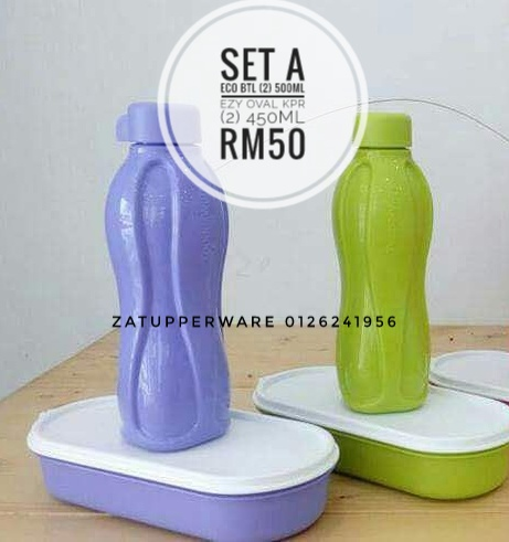 Tupperware Candy Eco Bottle (2) 500ml+Ezy Oval Keeper (2) 450ml