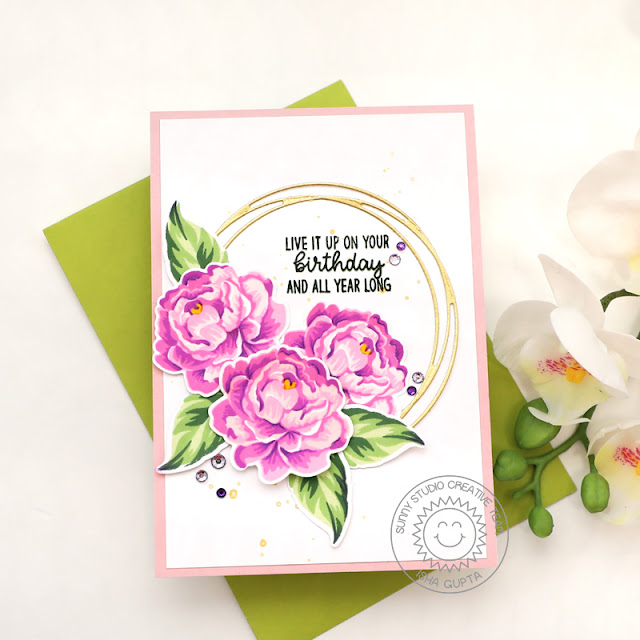 Sunny Studio Stamps: Captivating Camellias Snowflake Circle Frame Dies Inside Greetings Birthday Card by Isha Gupt