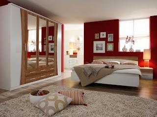 habitación rojo blanco y negro