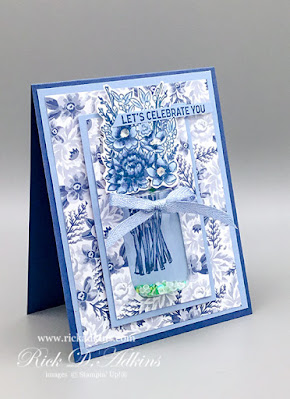 Learn how I created this Blue Willow Inspired Birthday Card using the Jar of Flowers Bundle from Stampin' Up!.  Click here