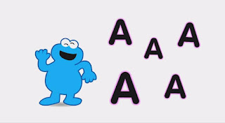 Animated Cookie Monster sings about the A sound in the word apple. Sesame Street Episode 4418 The Princess Story season 44