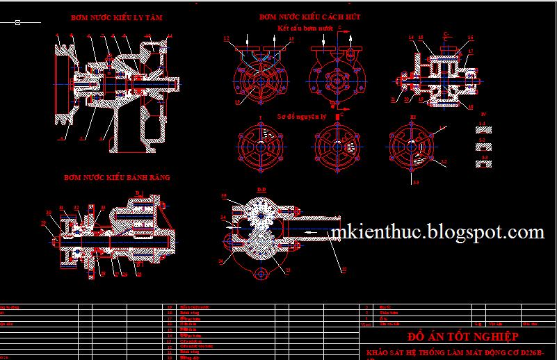 bản vẽ đồ án hệ thống làm mát động cơ D226B-4D