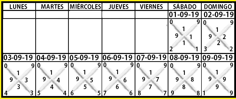 Calendario Numeros Grandes Septiembre 2019.Numeros Para Ganar La Loteria Con El Calendario De La
