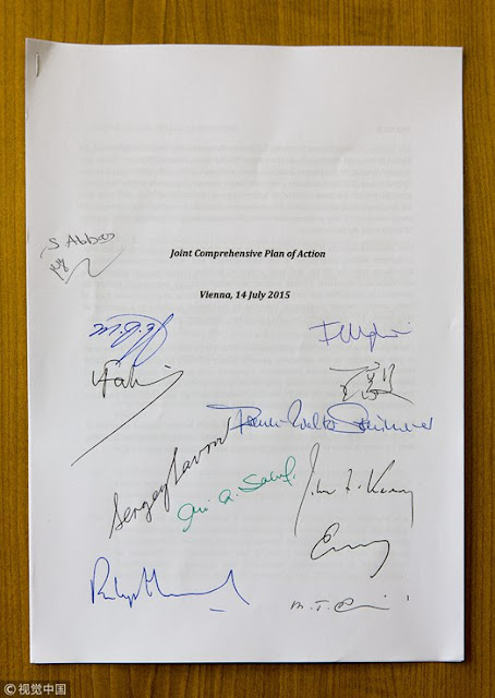 Image Attribute: The signatures of the signatories of 2015 Joint Comprehensive Plan of Action (JCPoA)