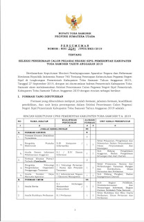 Info CPNS Kabupaten Samosir November 2019
