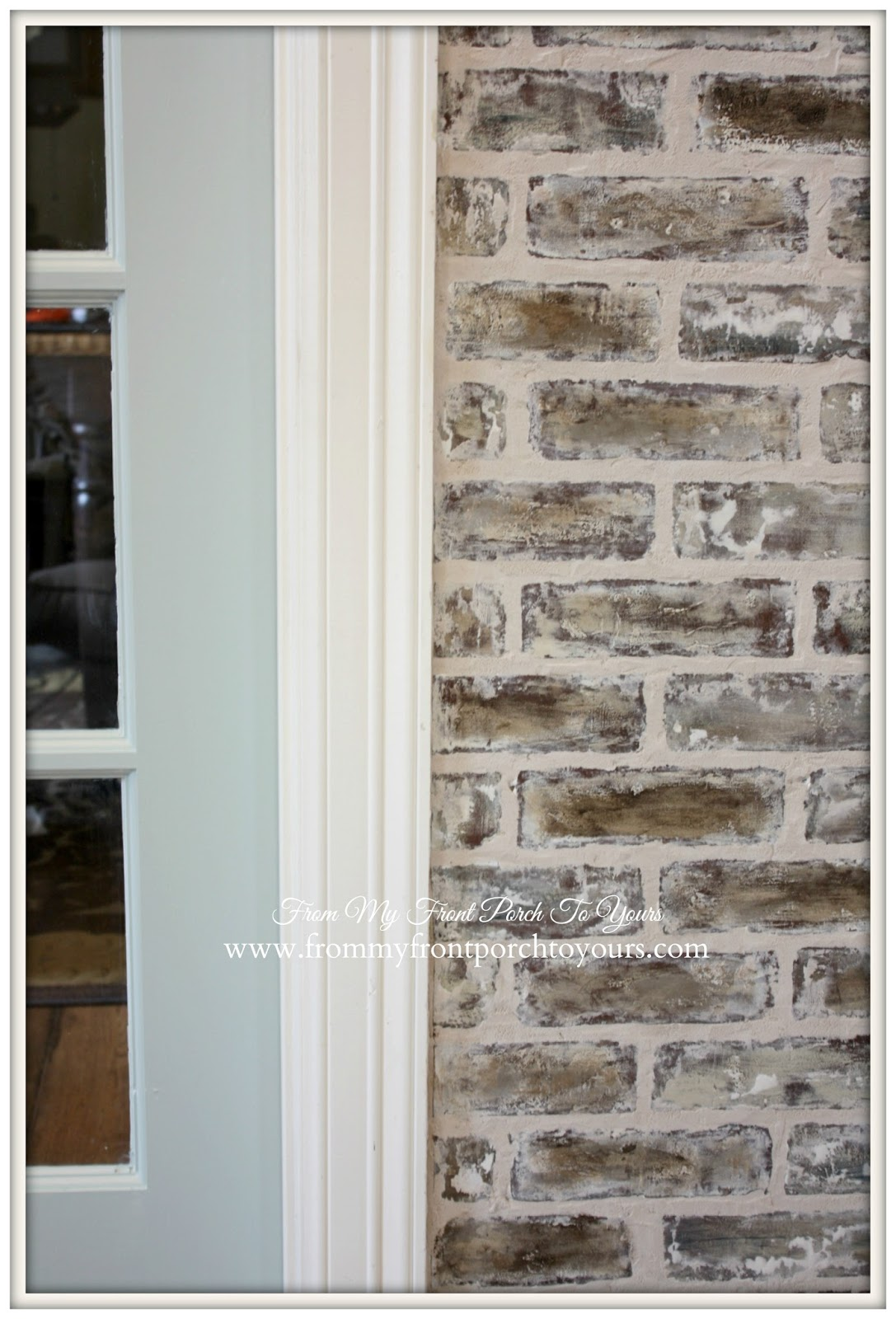 Faux Brick Wall Treatment- From My Front Porch To Yours