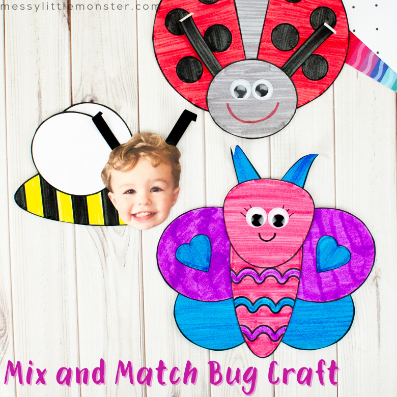 Mix and match bug crafts for kids with printable insect template