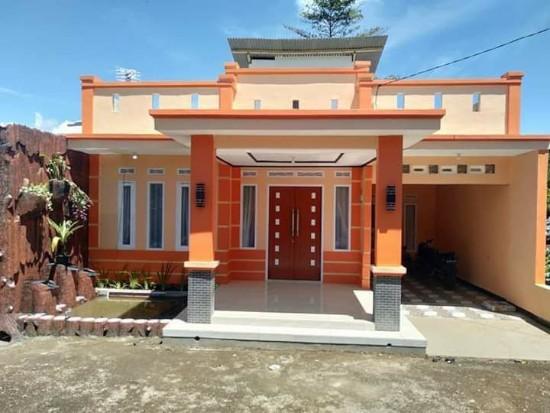 rumah minimalis kombinasi warna orange