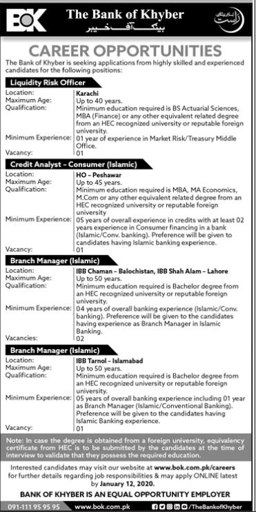Bank of Khyber Pakistan (BOK) Jobs Online Application in December 2021