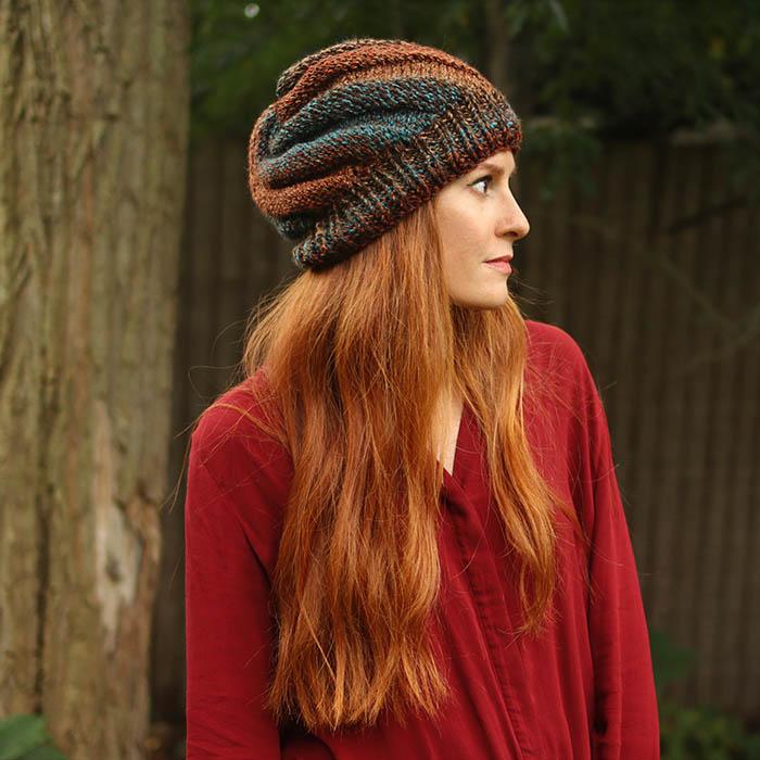 Flat Knit Swirl Hat Free Knitting Pattern