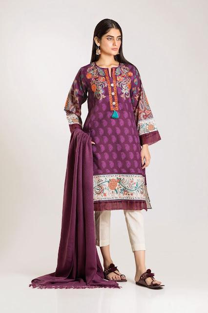 khaadi winter unstitched purple color and shirt shawl dress