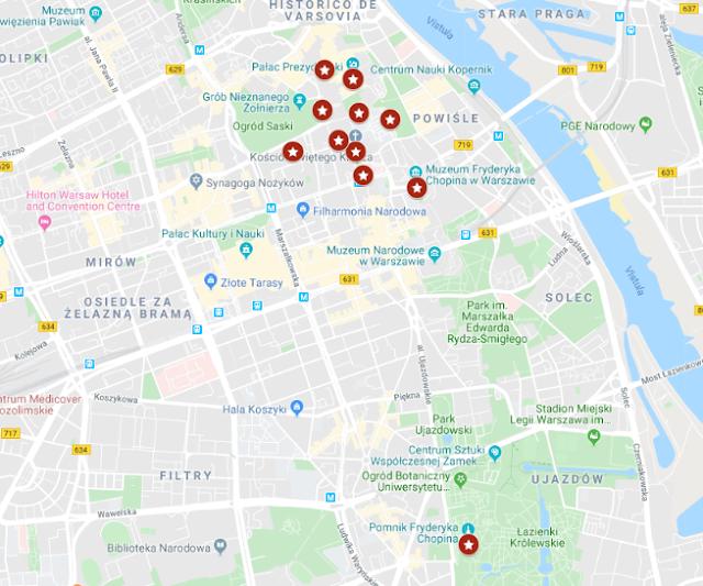 localización de los bancos musicales de Chopin en Varsovia
