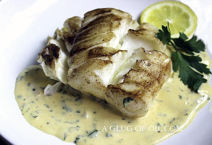 Lemon butter sauce on cod