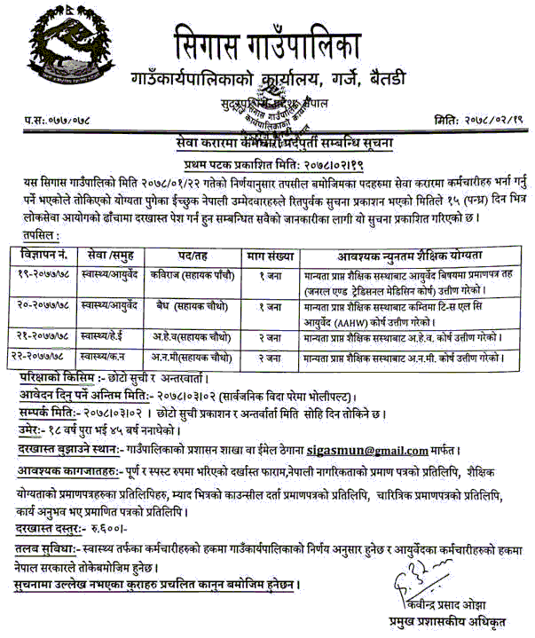 Sigas-Rural-Municipality-Vacancy-for-Kabiraj-Baidhya-AHW-and-ANM