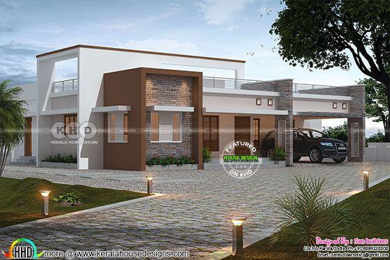 3 bedroom single floor flat roof home 2424 square feet