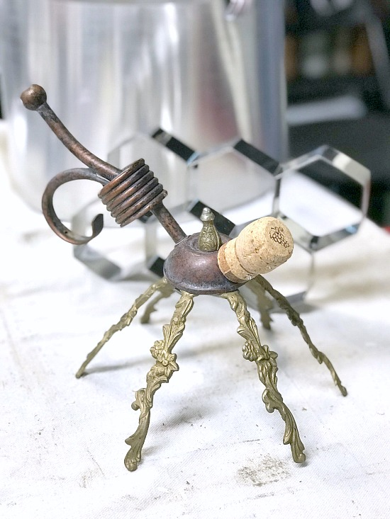 DIY Repurposed metal lamp parts garden bee