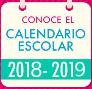 Resultado de imagen de CALENDARIO ESCOLAR 2018 2019