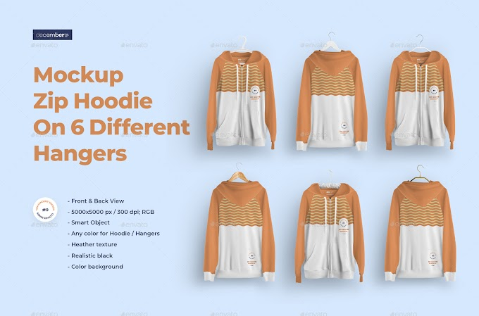 Front and Back Zip Hoodie Mockup On 6 Different Hangers[Photoshop][28926231]